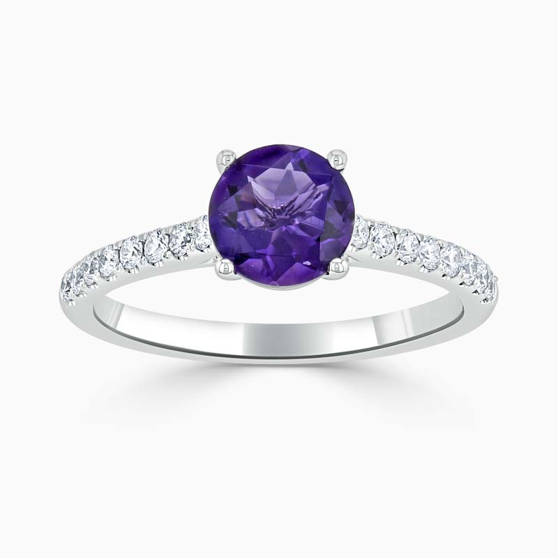 18ct White Gold Round Brilliant Amethyst & Diamond Cutdown Shoulder Ring