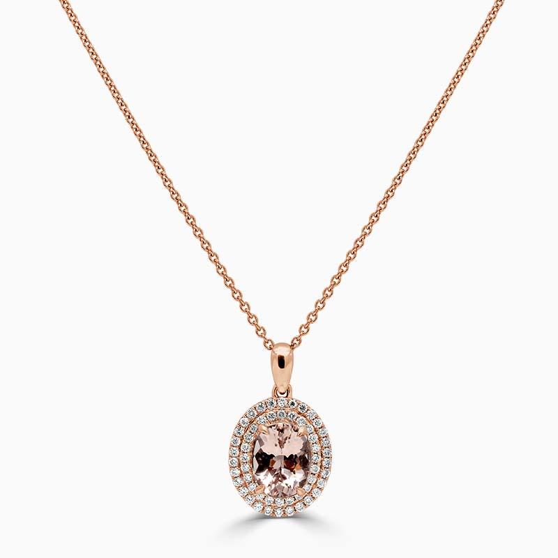 18ct Rose Gold Oval Morganite & Diamond Double Halo Pendant