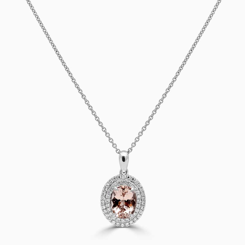 18ct White Gold Oval Morganite & Diamond Double Halo Pendant