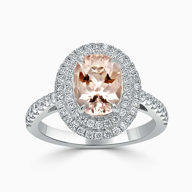 18ct White Gold Oval Morganite & Diamond Double Halo Ring