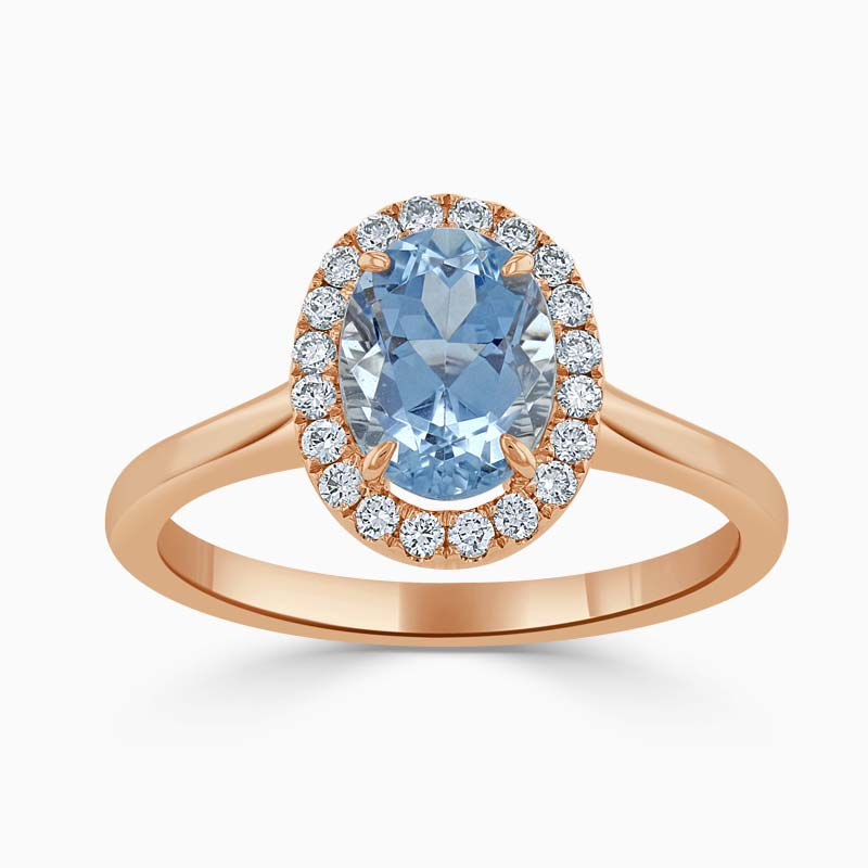 18ct Rose Gold Oval Shape Aquamarine & Diamond Cutdown Halo Ring