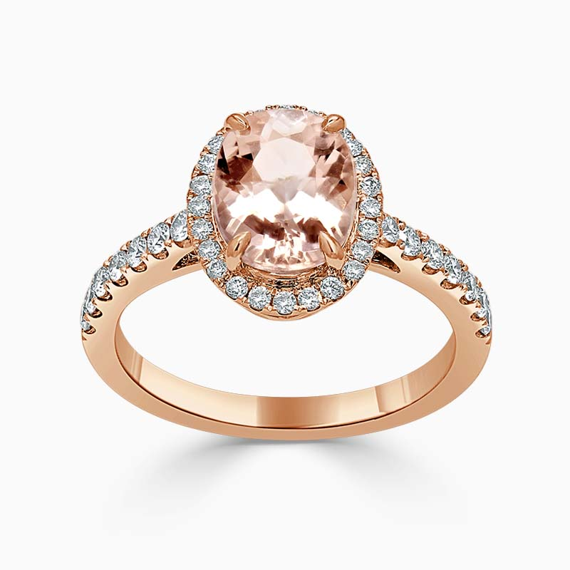 18ct Rose Gold Oval Morganite & Diamond Halo Ring