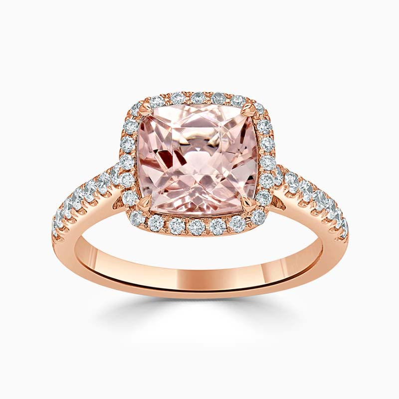 18ct Rose Gold Cushion Morganite & Diamond Halo Ring