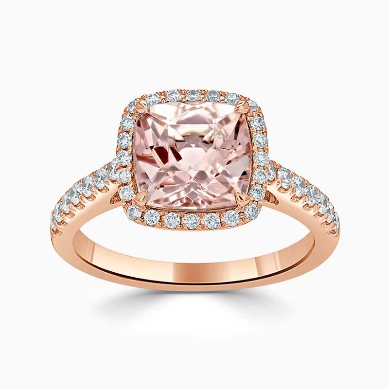18ct Rose Gold Cushion Morganite & Diamond Halo Ring