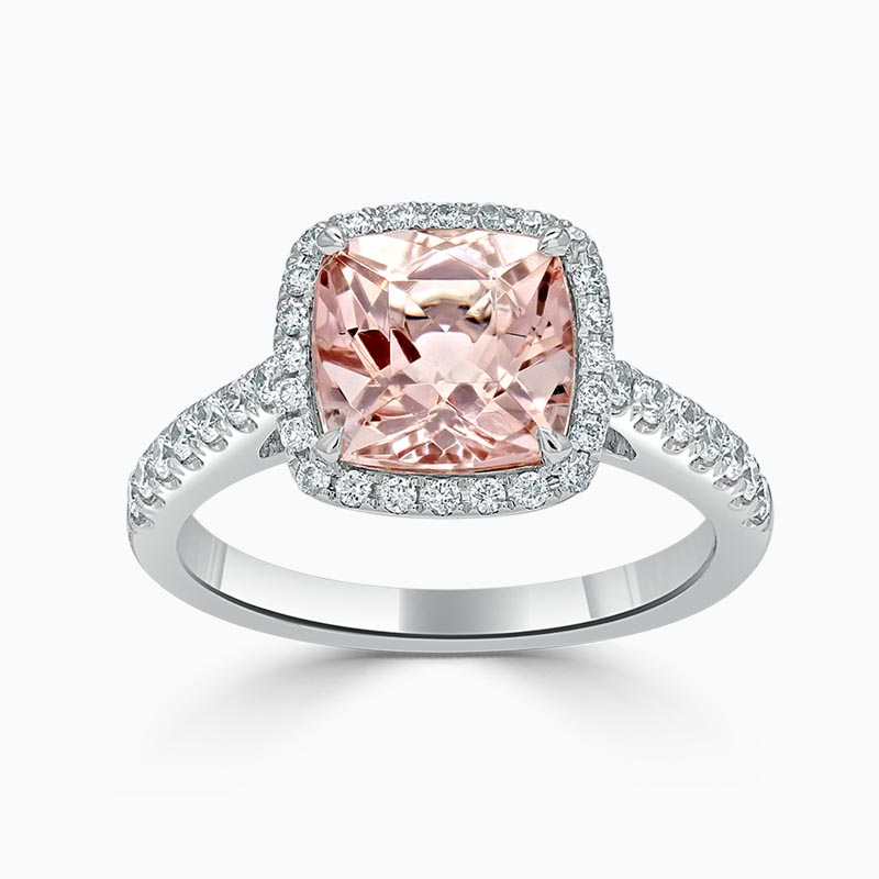 18ct White Gold Cushion Morganite & Diamond Halo Ring