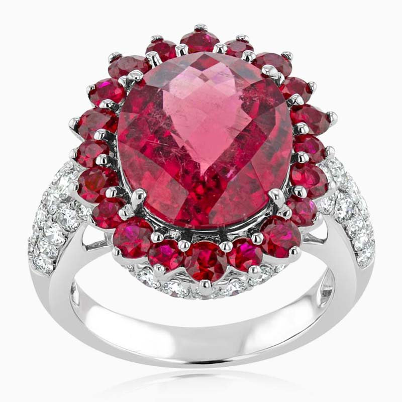 18ct White Gold Oval Rubellite, Ruby and Diamond Ring