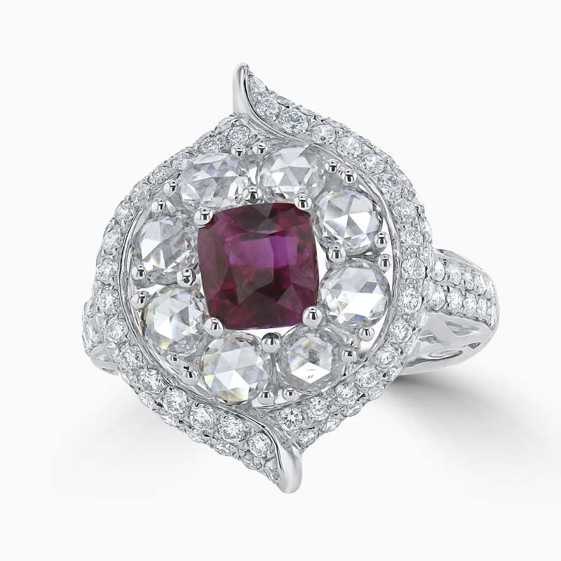 18ct White Gold Cushion Ruby & Rose Cut Diamond Dress Ring