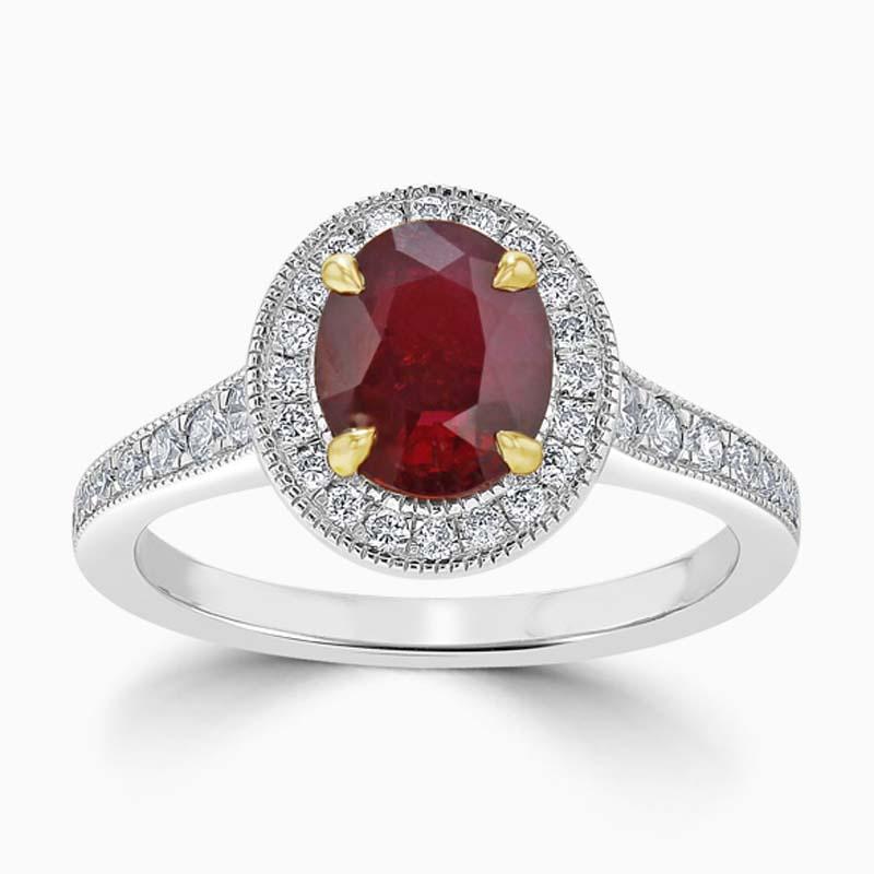 Platinum Oval Ruby & Diamond Halo Ring