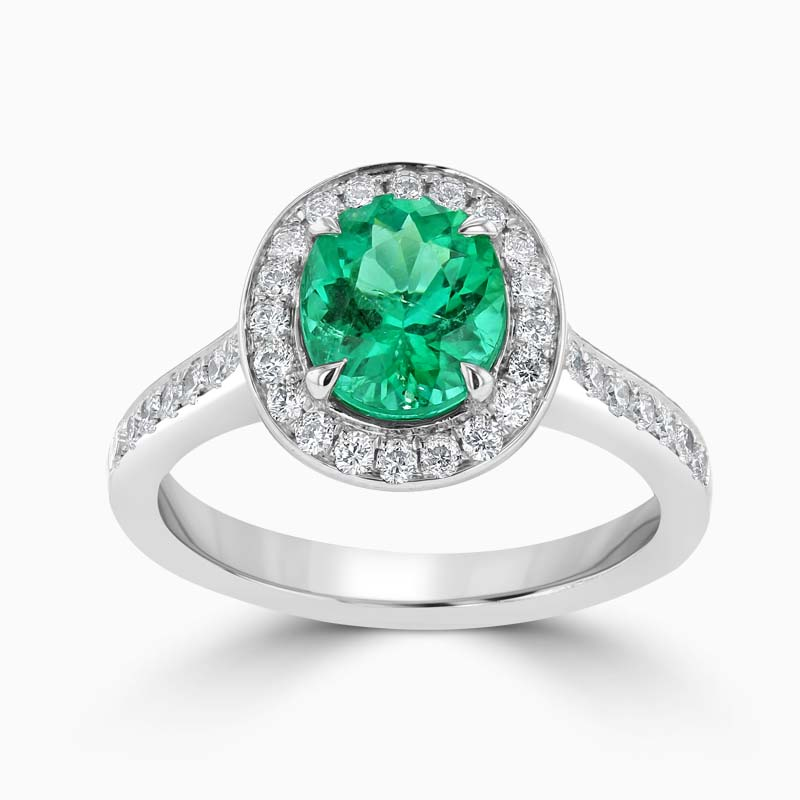 18ct White Gold Oval Shape Emerald & Diamond Halo Ring
