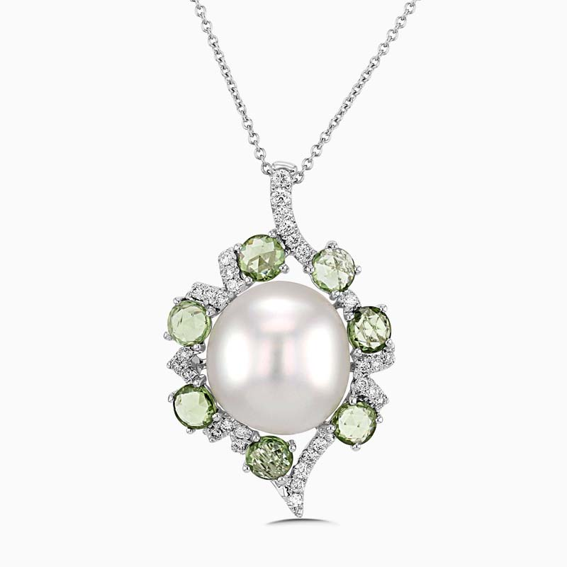 18ct White Gold Pearl, Green Sapphire and Diamond Pendant