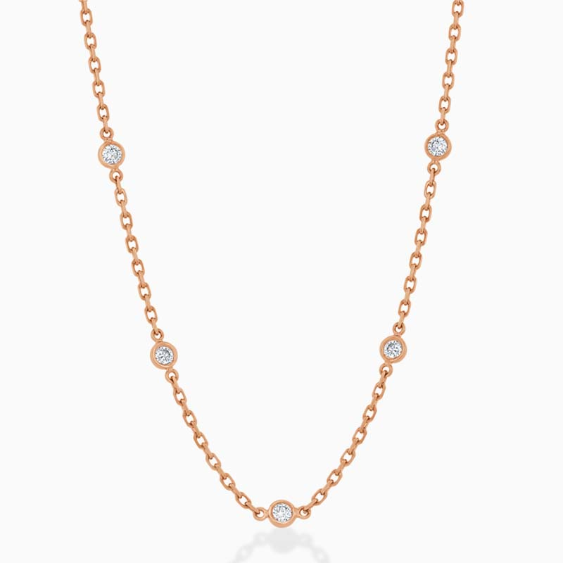 18ct Rose Gold Spectacle Set Diamond Necklace - 5 Stone