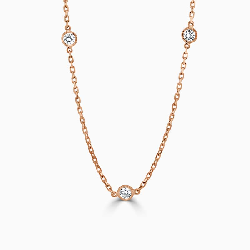 18ct Rose Gold Spectacle Set Diamond Necklace - 3 Stone