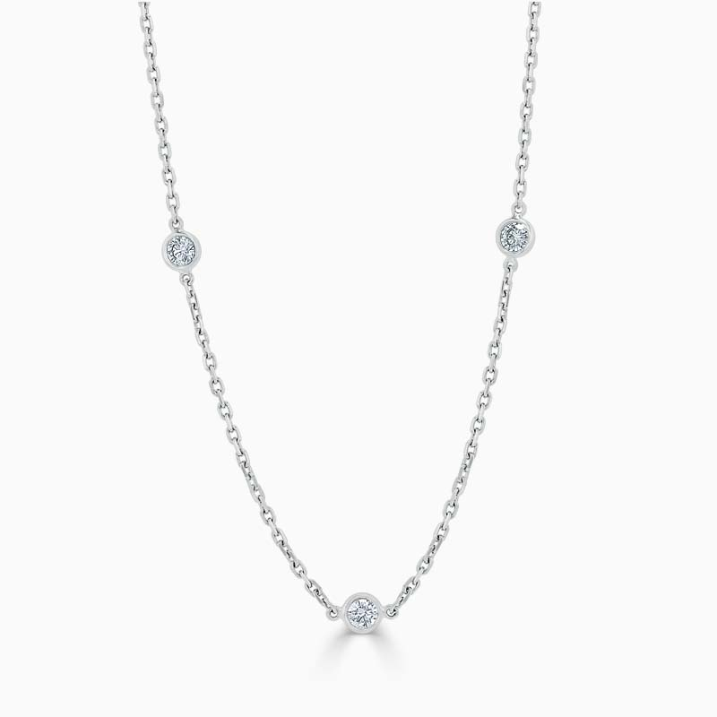 18ct White Gold Spectacle Set Diamond Necklace - 3 Stone