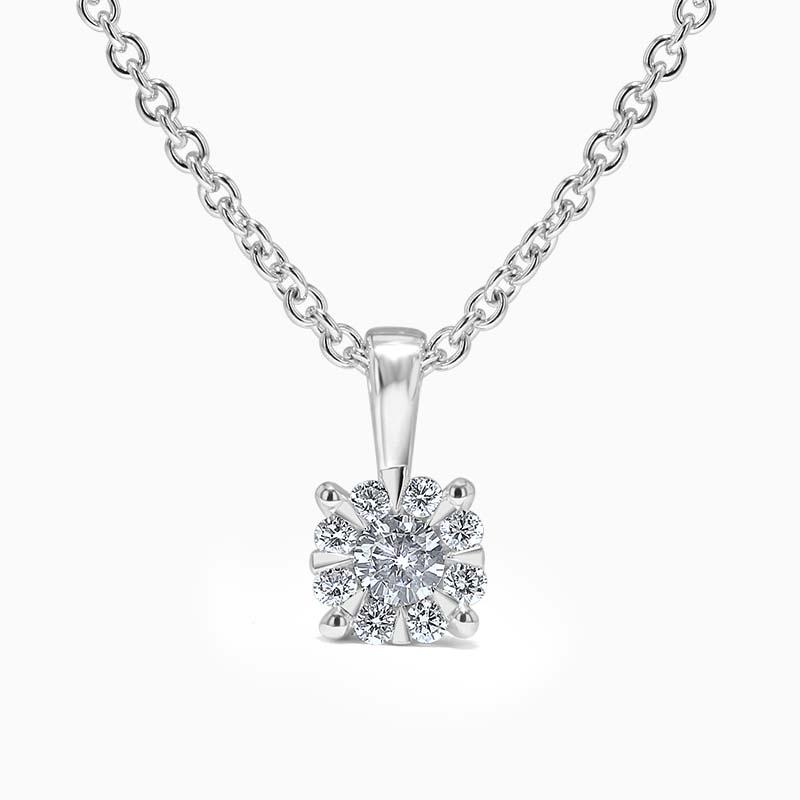 18ct White Gold Cluster Set Diamond Pendant