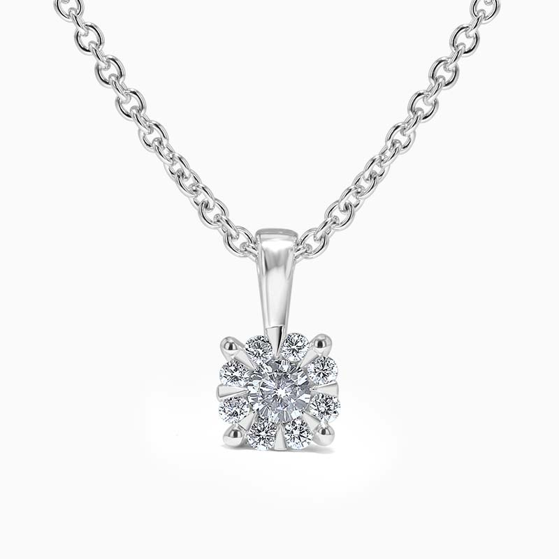 18ct White Gold Cluster Set Diamond Pendant