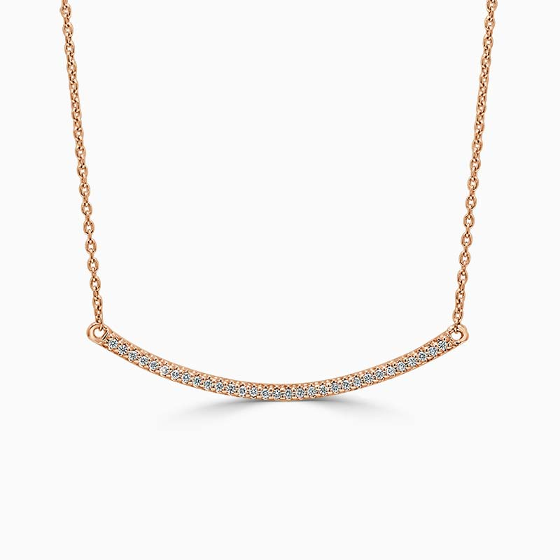 18ct Rose Gold Curved Bar Diamond Set Pendant