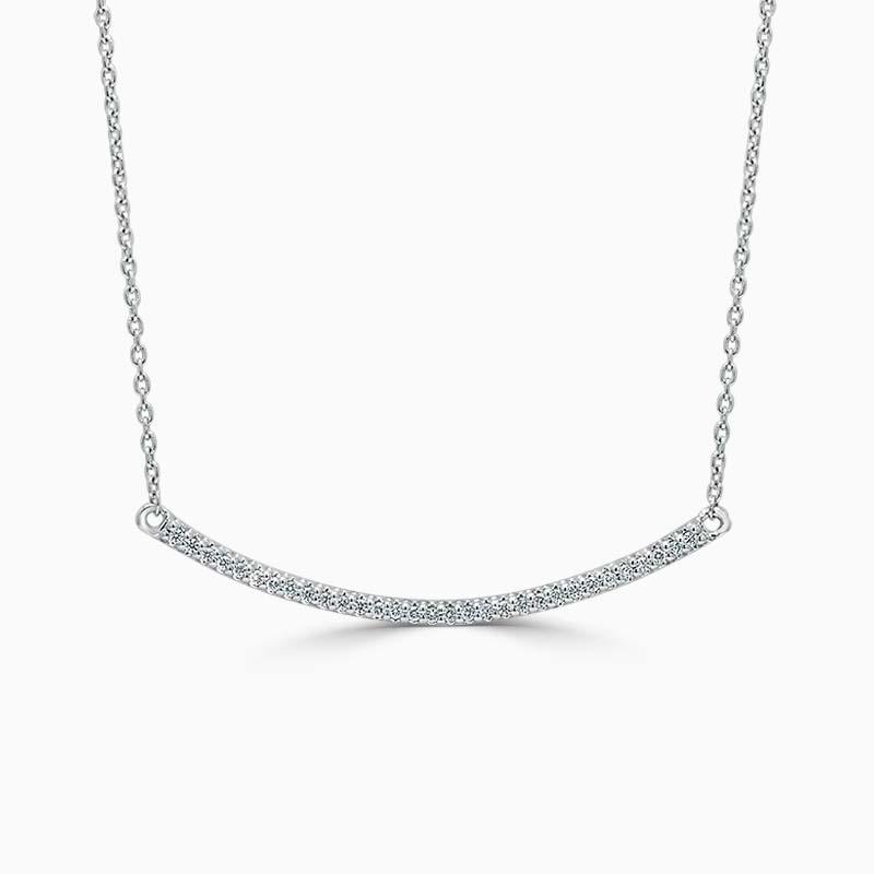 18ct White Gold Curved Bar Diamond Set Pendant