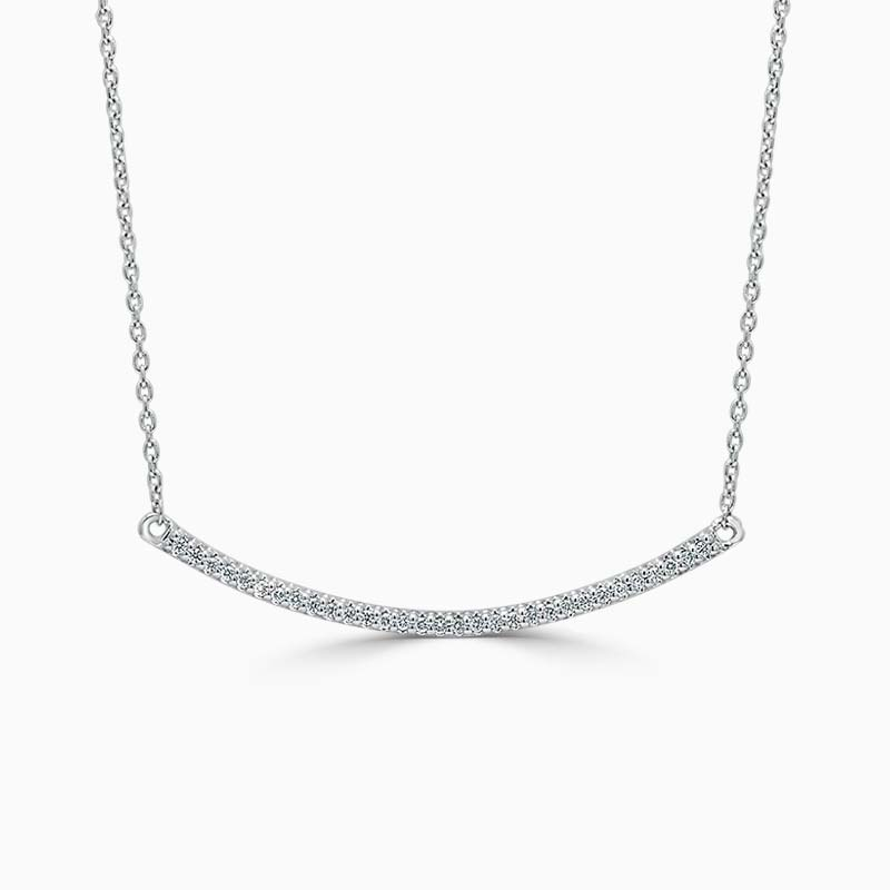 18ct White Gold Curved Bar Diamond Set Pendant