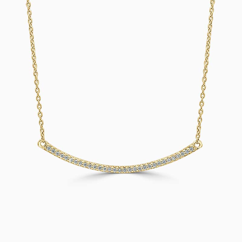 18ct Yellow Gold Curved Bar Diamond Set Pendant