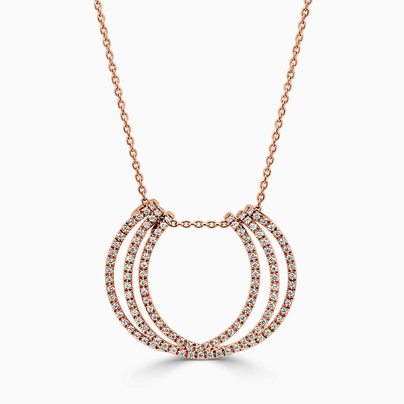 18ct Rose Gold Triple Row Diamond Set Pendant