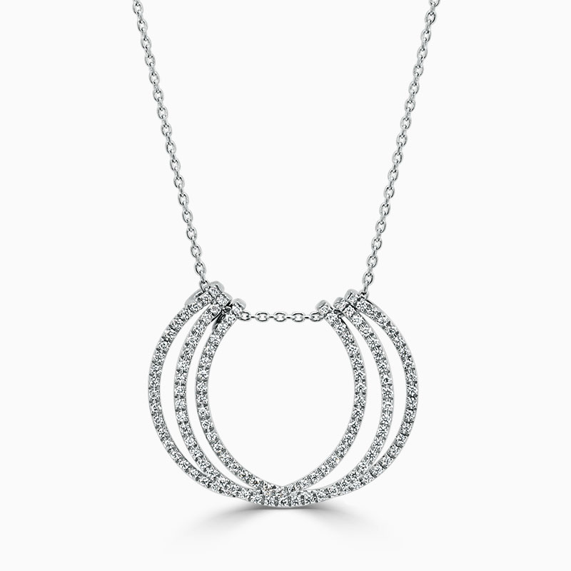 18ct White Gold Triple Row Diamond Set Pendant