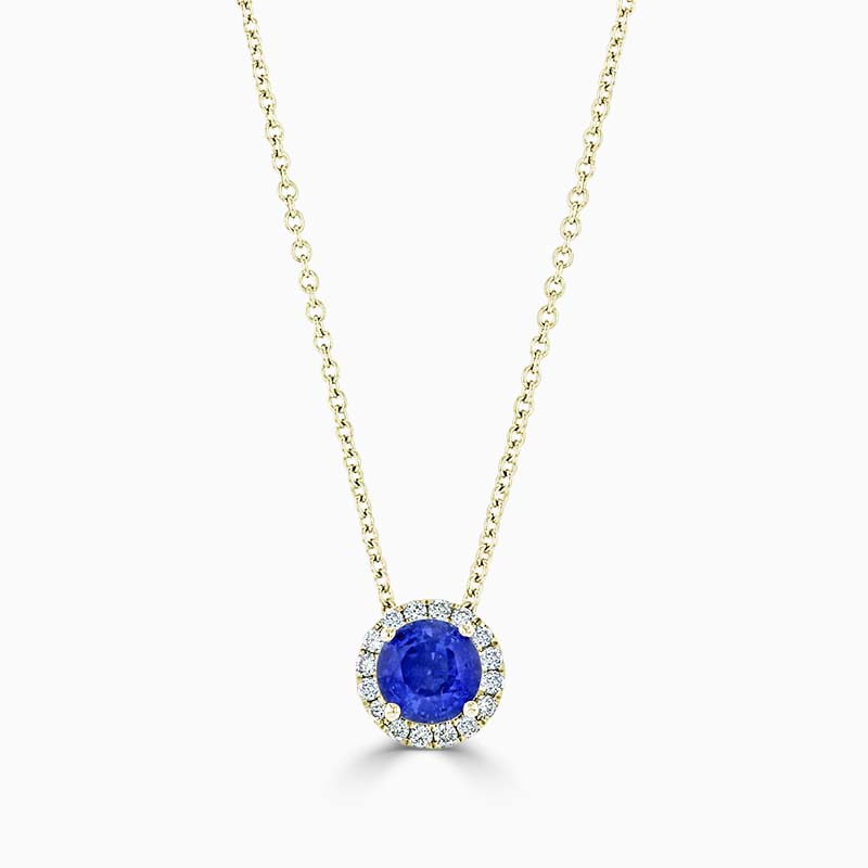 18ct Yellow Gold Tanzanite and Diamond Halo Pendant