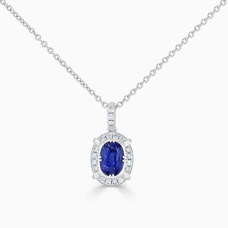 18ct White Gold Oval Sapphire & Diamond Pendant