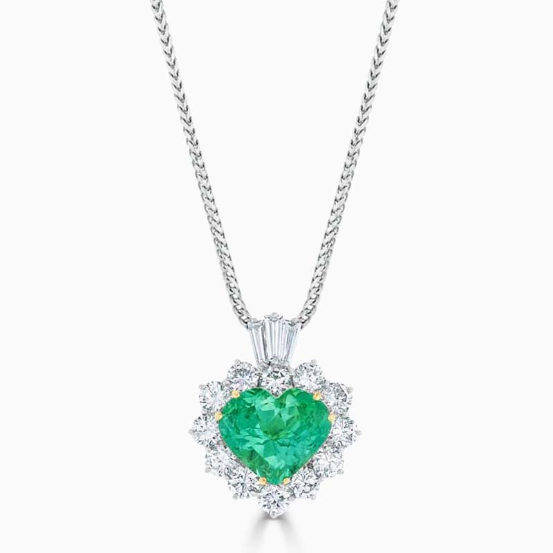 18ct White Gold Emerald & Diamond Heart Shaped Pendant