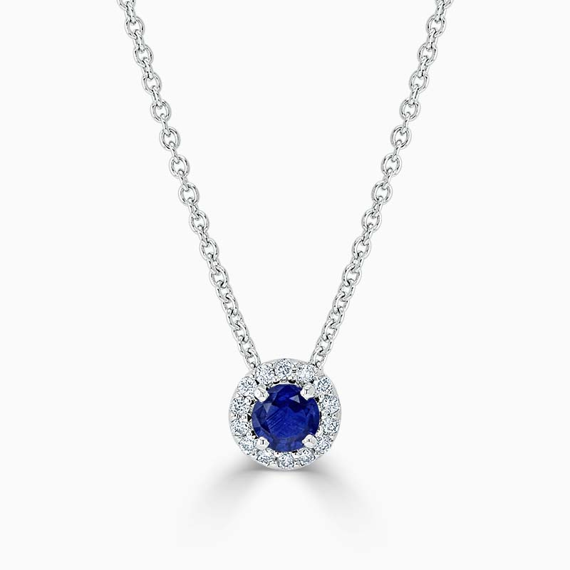 18ct White Gold Sapphire and Diamond Cutdown Halo Pendant