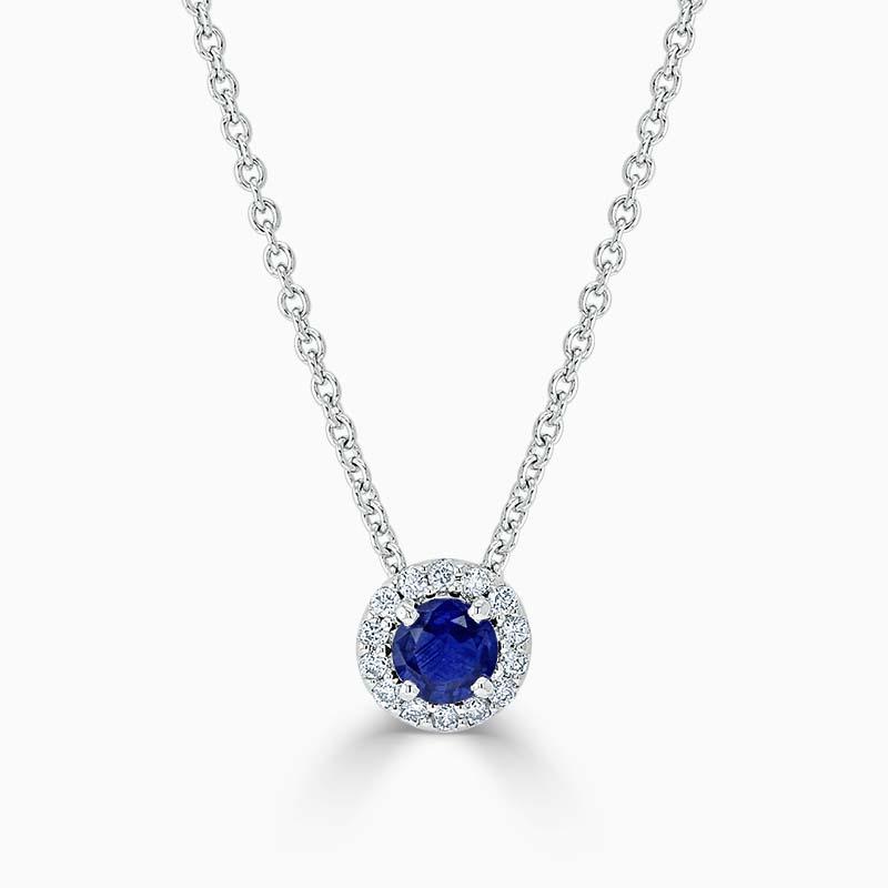 18ct White Gold Sapphire and Diamond Cutdown Halo Pendant