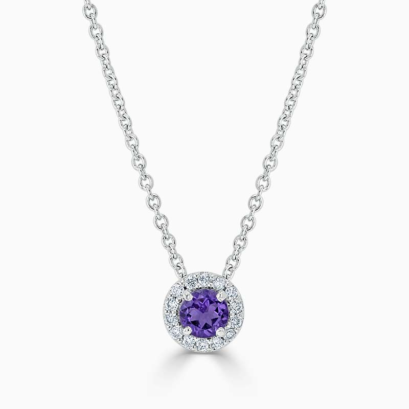 18ct White Gold Amethyst and Diamond Cutdown Halo Pendant
