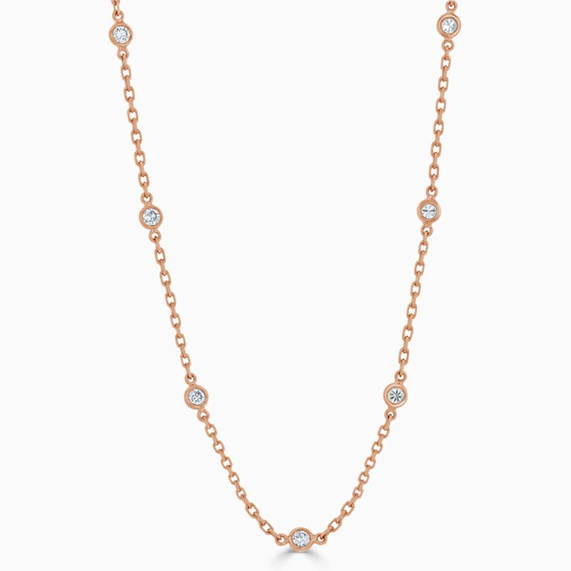 18ct Rose Gold Spectacle Set Diamond Necklace - 7 Stone