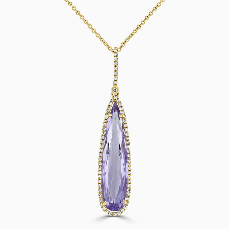 18ct Rose Gold Pear Shape Amethyst and Diamond Pendant