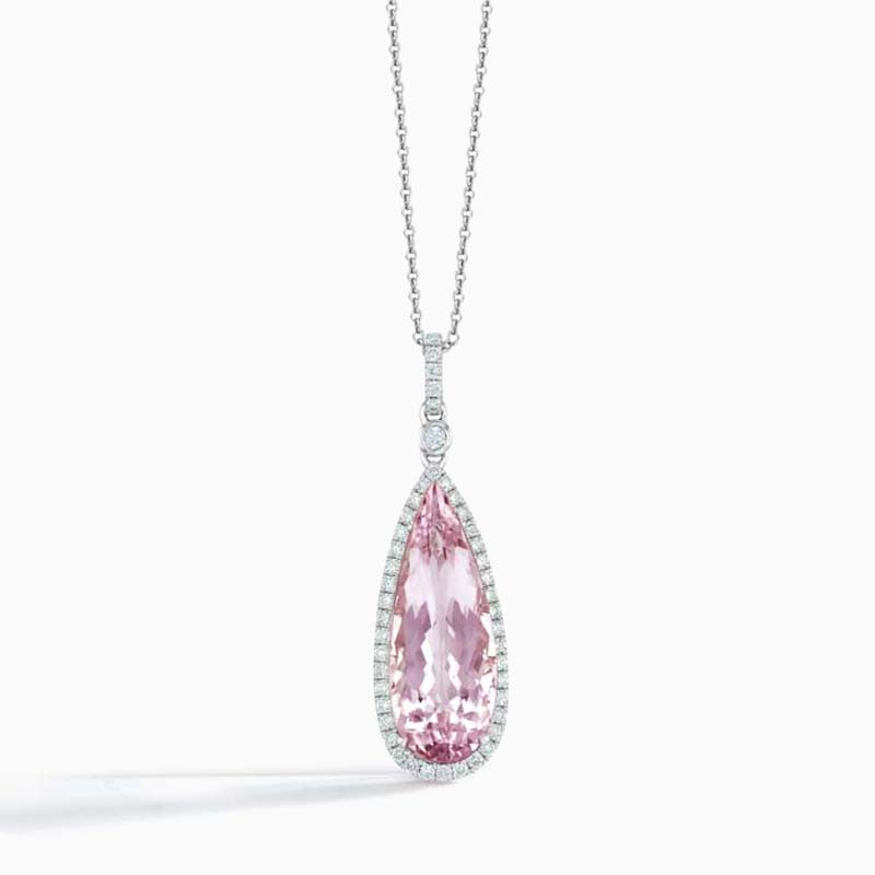 18ct White Gold Pear Shape Morganite and Diamond Halo Pendant
