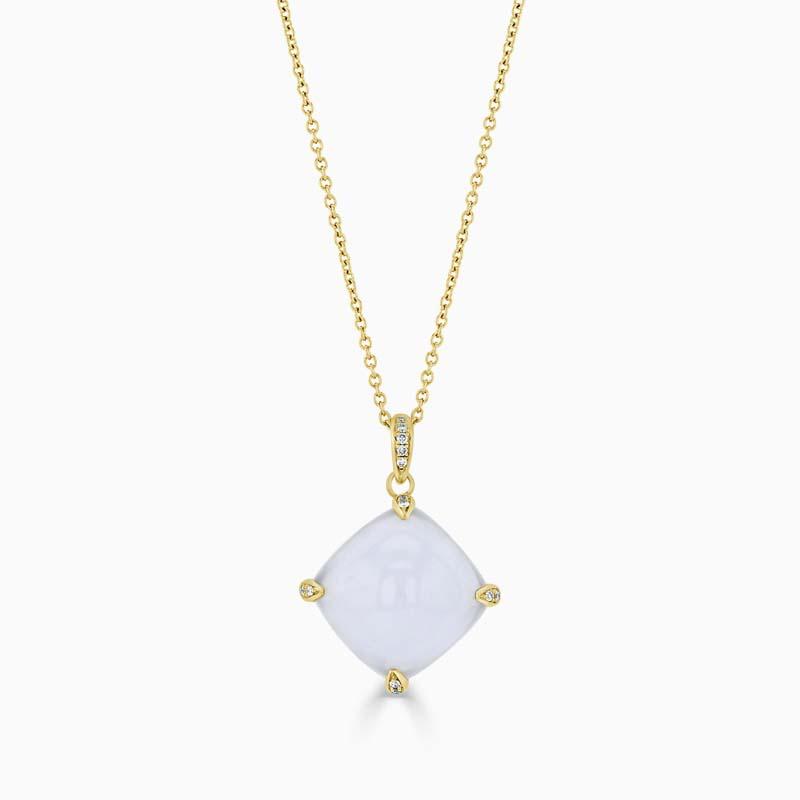 18ct Yellow Gold Chalcedony & Diamond Claw Pendant