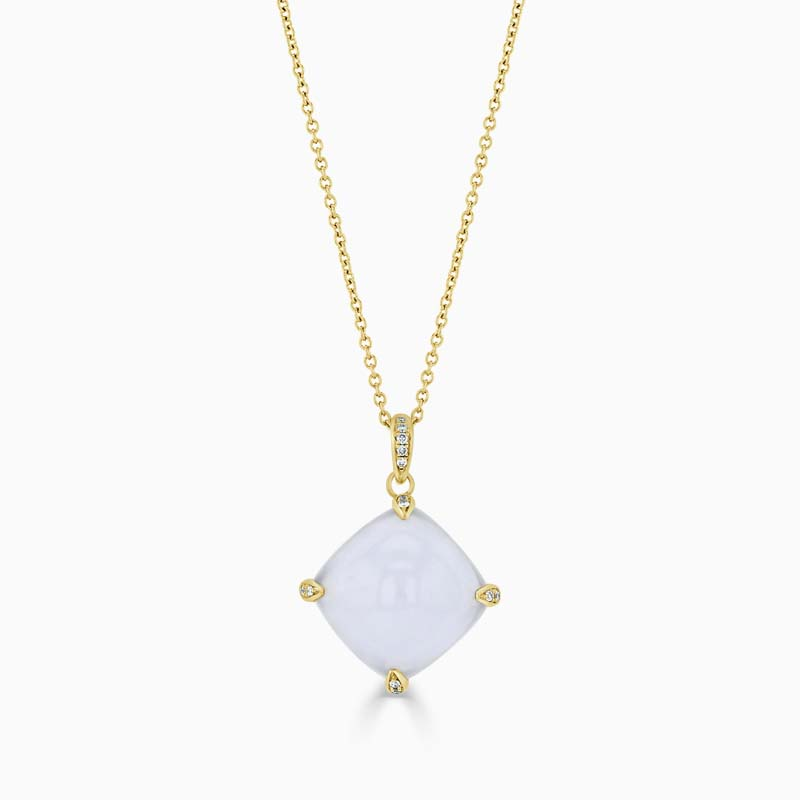 18ct Yellow Gold Chalcedony & Diamond Claw Pendant