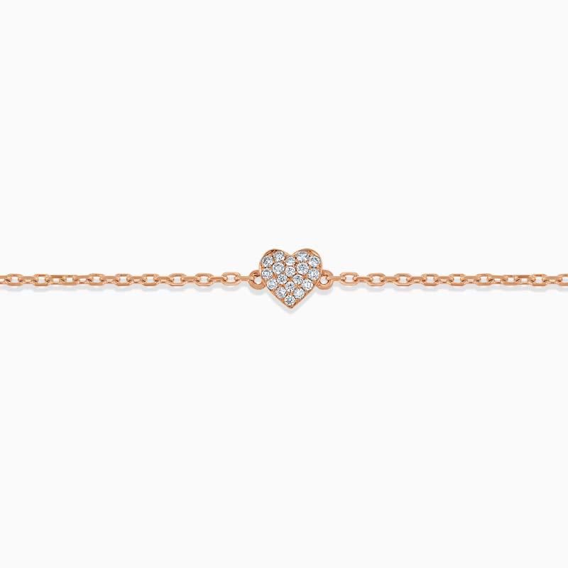18ct Rose Gold Pavé Heart Diamond Charm Bracelet