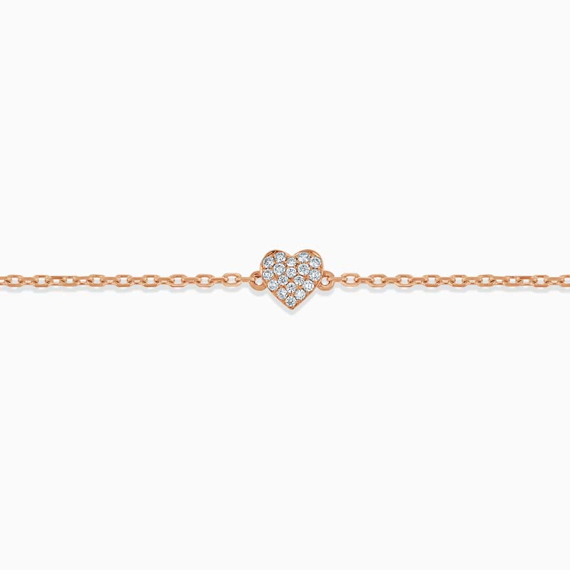 18ct Rose Gold Pavé Heart Diamond Charm Bracelet