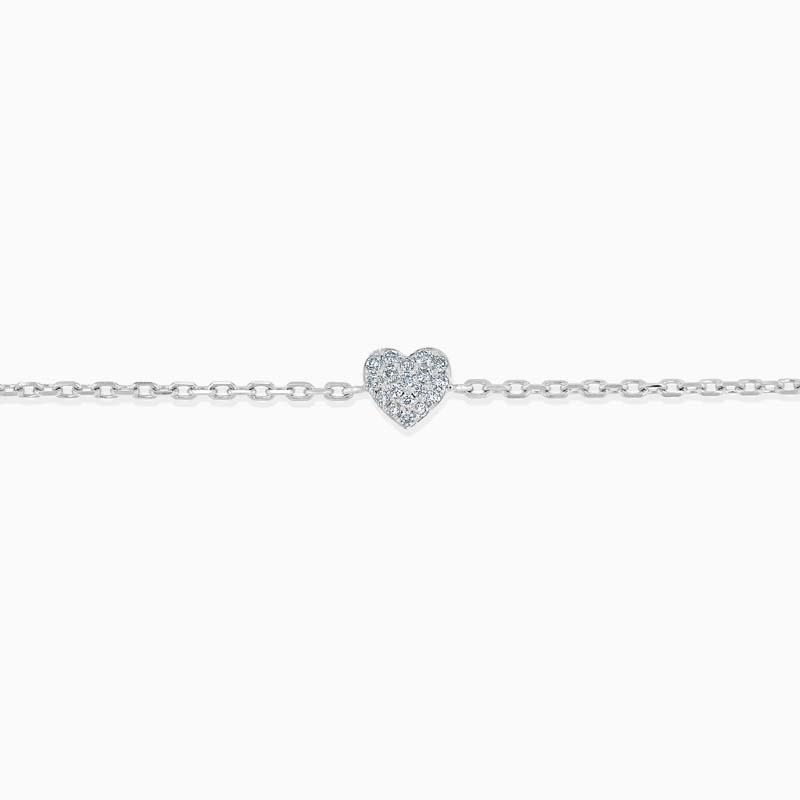 18ct White Gold Pavé Heart Diamond Charm Bracelet
