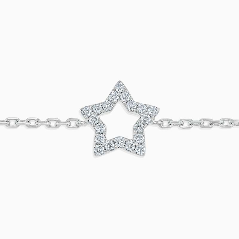 18ct White Gold Cutdown Star Diamond Charm Bracelet