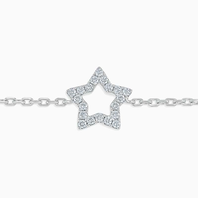 18ct White Gold Cutdown Star Diamond Charm Bracelet