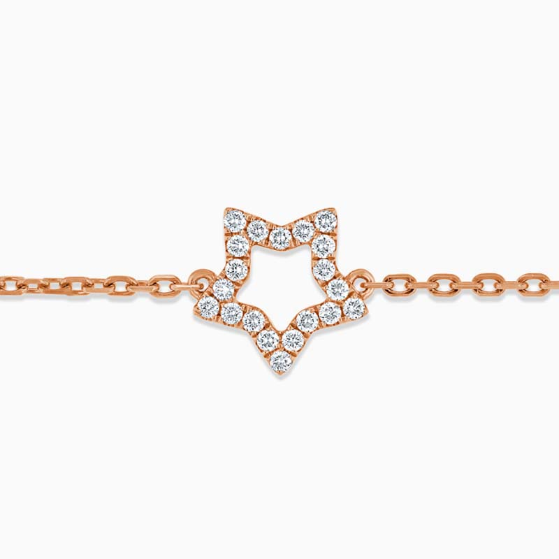 18ct Yellow Gold Cutdown Star Diamond Charm Bracelet