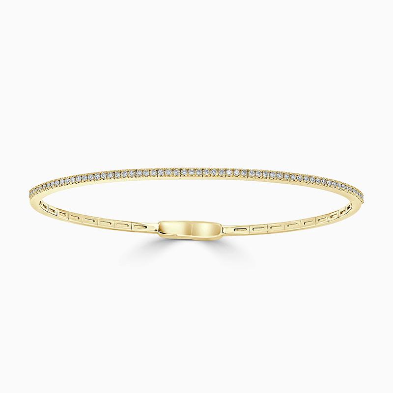 18ct Yellow Gold Round Brilliant Diamond Bangle