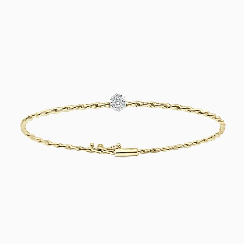 18ct Yellow Gold Florence Entwined Diamond Bangle