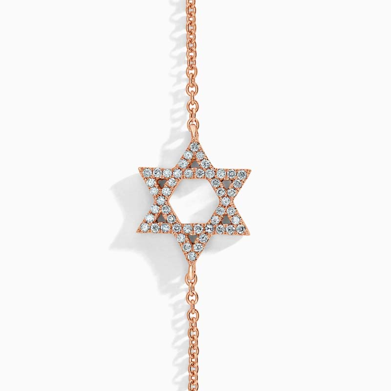 18ct Rose Gold Star Of David Motif Charm Bracelet