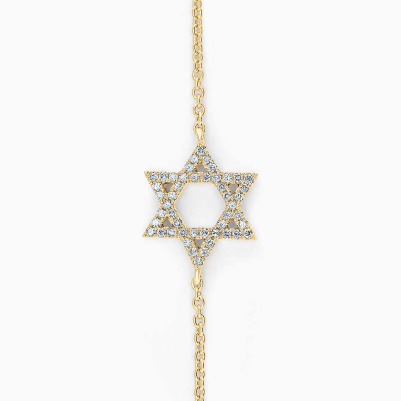 18ct Yellow Gold Star Of David Motif Charm Bracelet
