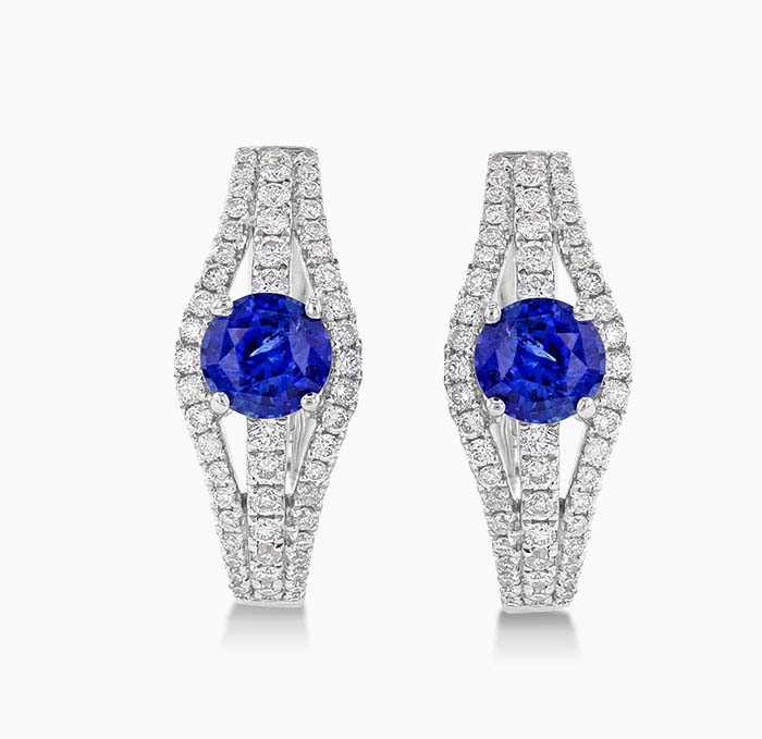 18ct White Gold Sapphire and Diamond Hoops