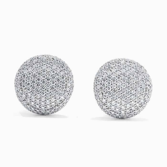 18ct White Gold Diamond Pave Button Studs