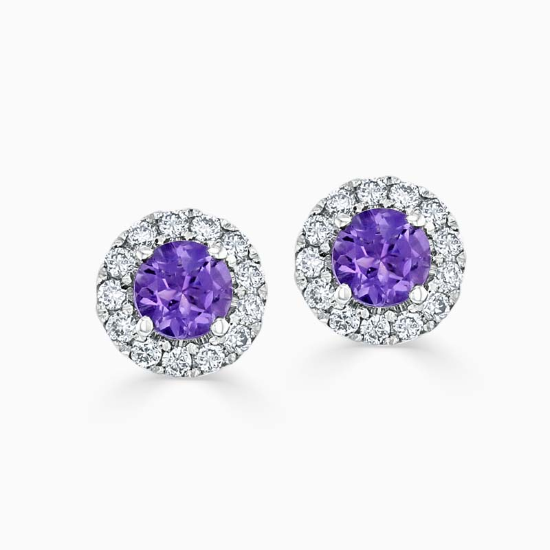 18ct White Gold Amethyst & Diamond Cutdown Halo Studs