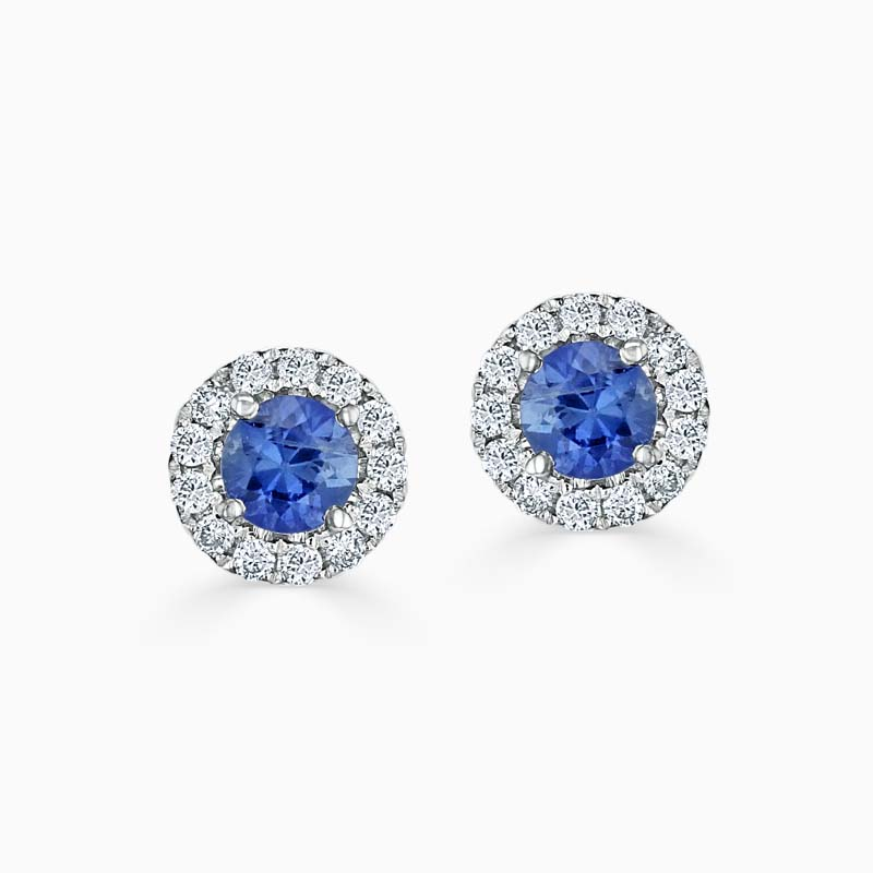 18ct White Gold Sapphire & Diamond Cutdown Halo Studs